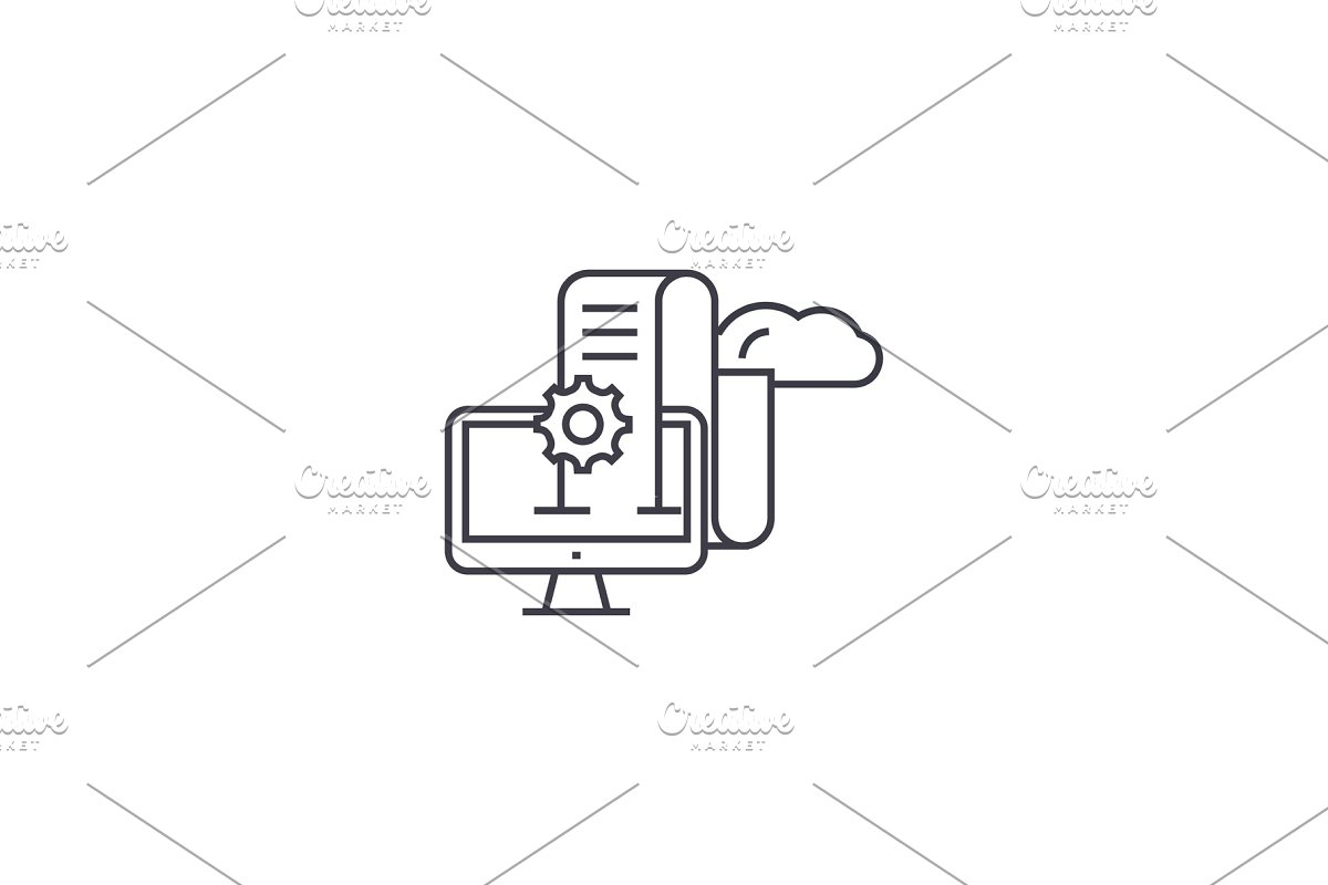 web analytics vector line icon, sign, illustration on background, editable strokes
