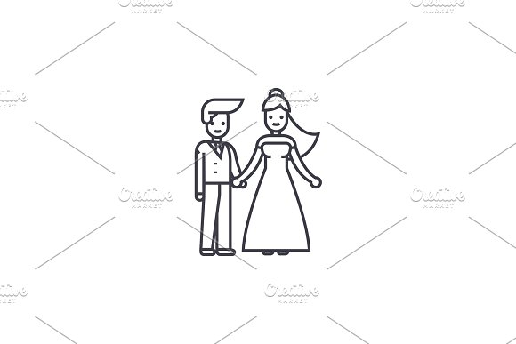wedding couple vector line icon, sign, illustration on background, editable strokes in Illustrations