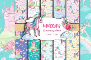 Unicorns Seamless pattern watercolor