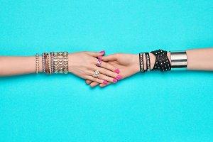 Friendship concept on Blue