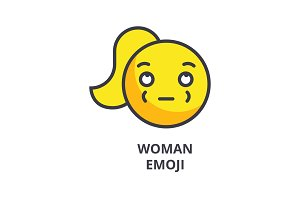 woman emoji vector line icon, sign, illustration on background, editable strokes