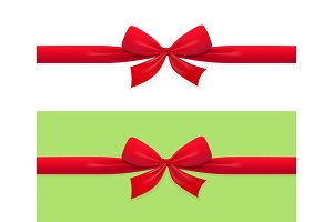 Red bow and ribbon decoration for gift