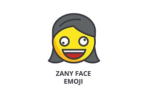 zany face emoji vector line icon, sign, illustration on background, editable strokes