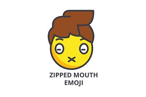 zipped mouth emoji vector line icon, sign, illustration on background, editable strokes
