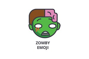 zomby emoji vector line icon, sign, illustration on white background, editable strokes