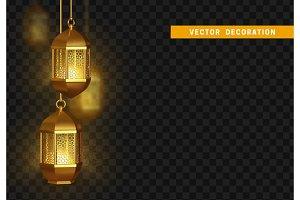 Gold vintage luminous lanterns. Arabic shining lamps.