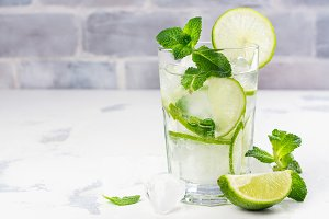 Mojito cocktail in highball glass