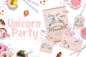 Unicorn Party Invitation Set