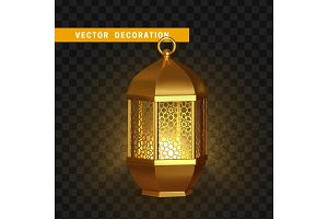 Gold vintage lanterns. Arabic shining lamps.