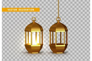 Gold vintage luminous lanterns. Arabic shining lamps.