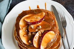 Apple Caramel Pancakes