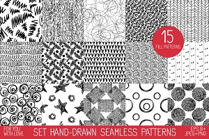 Set  hand drawn  seamless  patterns