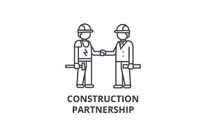 construction partnership vector line icon, sign, illustration on background, editable strokes
