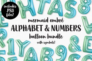 Mermaid Ombre Foil Balloon Pack