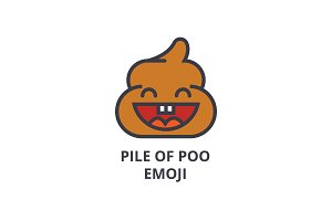 pile of poo emoji vector line icon, sign, illustration on background, editable strokes