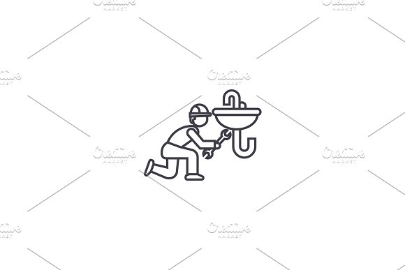 plumbing maintenance vector line icon, sign, illustration on background, editable strokes