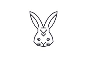 rabbit head vector line icon, sign, illustration on background, editable strokes