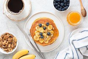 Top view of Tasty Breakfast Pancakes