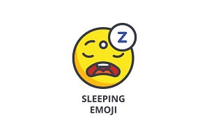 sleeping emoji vector line icon, sign, illustration on background, editable strokes