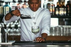 Expert bartender adds ice