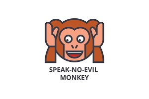 speak no evil emoji vector line icon, sign, illustration on background, editable strokes