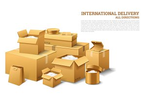 Pile of realistic stacked cardboard box. Brown delivery. Empty Carton, open and sealed package with on transparent white background. Organized by layer. Container for shipping, transportation and mail