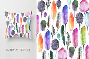 Watercolor bird, feathers, flowers