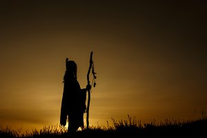 silhouette of native american shaman