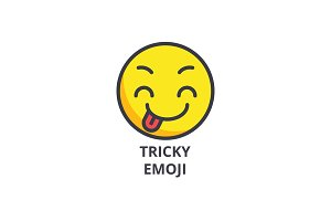 tricky emoji vector line icon, sign, illustration on background, editable strokes