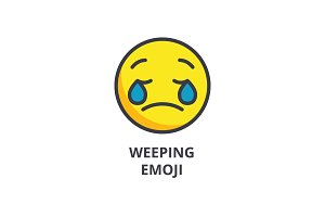 weeping emoji emoji vector line icon, sign, illustration on background, editable strokes