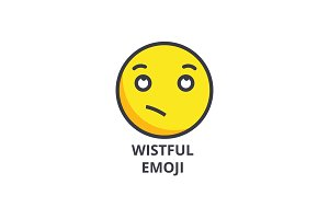 wistful emoji vector line icon, sign, illustration on background, editable strokes