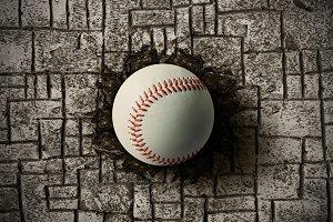 Baseball on wall