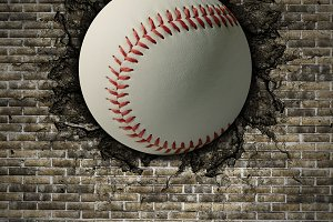 Baseball on wall
