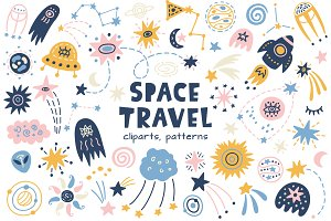 SPACE 36 Patterns and 155 Cliparts