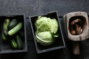 green cabbage, Mushrooms and Cucumbers
