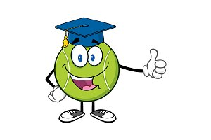 Happy Tennis Ball With Graduate Cap