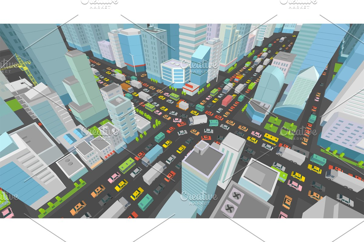 City street Intersection traffic jams road 3d  Very high detail Isometric  projection view  A lot cars end buildings top view Vector illustration