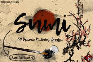 50 Sumi Brush Pack-Photoshop Brushes