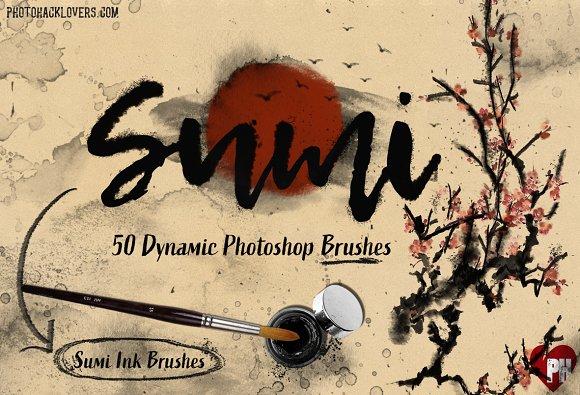 50 Sumi Brush Pack-Photoshop Brushes