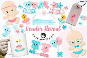 Gender reveal graphics illustrations