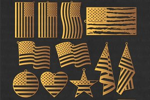 American USA Flag Earrings SVG Files