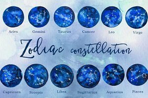 Watercolor Zodiac Constellation Set