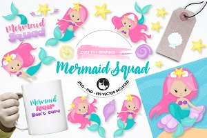 Mermaid squad graphics illustrations