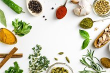 Fresh herbs and dried colorful spices by Anastasiia Nurullina in Food & Drink