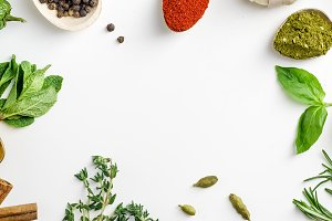 Fresh herbs and dried colorful spices