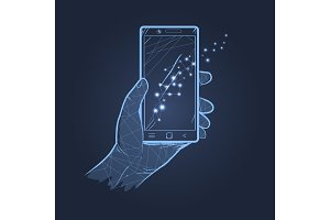 Hand & Smartphone Dark Theme Vector Illustration