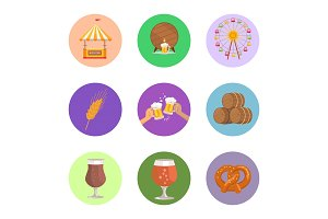 Circled Images Food and Beer Vector Illustration