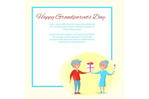 Happy Grandparents Day Senior Couple Give Present