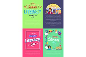 Set of Four Placard Literacy Vector Illustration