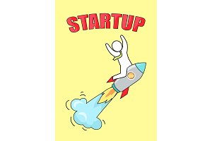 Startup Man on Launched Rocket Vector Illustration